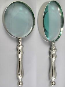 Dm15cm Lupe Aus Glas In Xxl-größe 38cm Lupeneinfassung U.griff Vernickelt /13 Modern Und Elegant In Mode