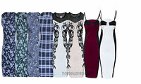 New Women Ladies Celebrity Floral Print Summer Party Bodycon Midi Dress size 8
