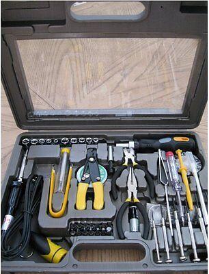 56 Piece Profressional PC Computer Tech Handyman Repair Solder Set Tool Kit Case