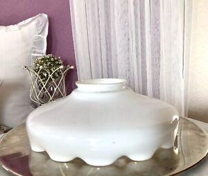 Antik Glasschirm Lampenschirm Glas opal weiß  Jugendstil gewellter Rand