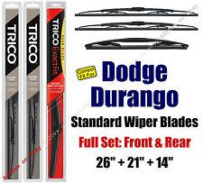 Wiper Blades 3pk Front Rear Standard fit 2004-2009 Dodge Durango - 30260/210/14C