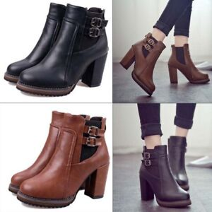 3ec7b6f073b WOMENS LADIES ANKLE BOOTS HIGH BLOCK HEEL FAUX LEATHER CHUNKY SHOES ...