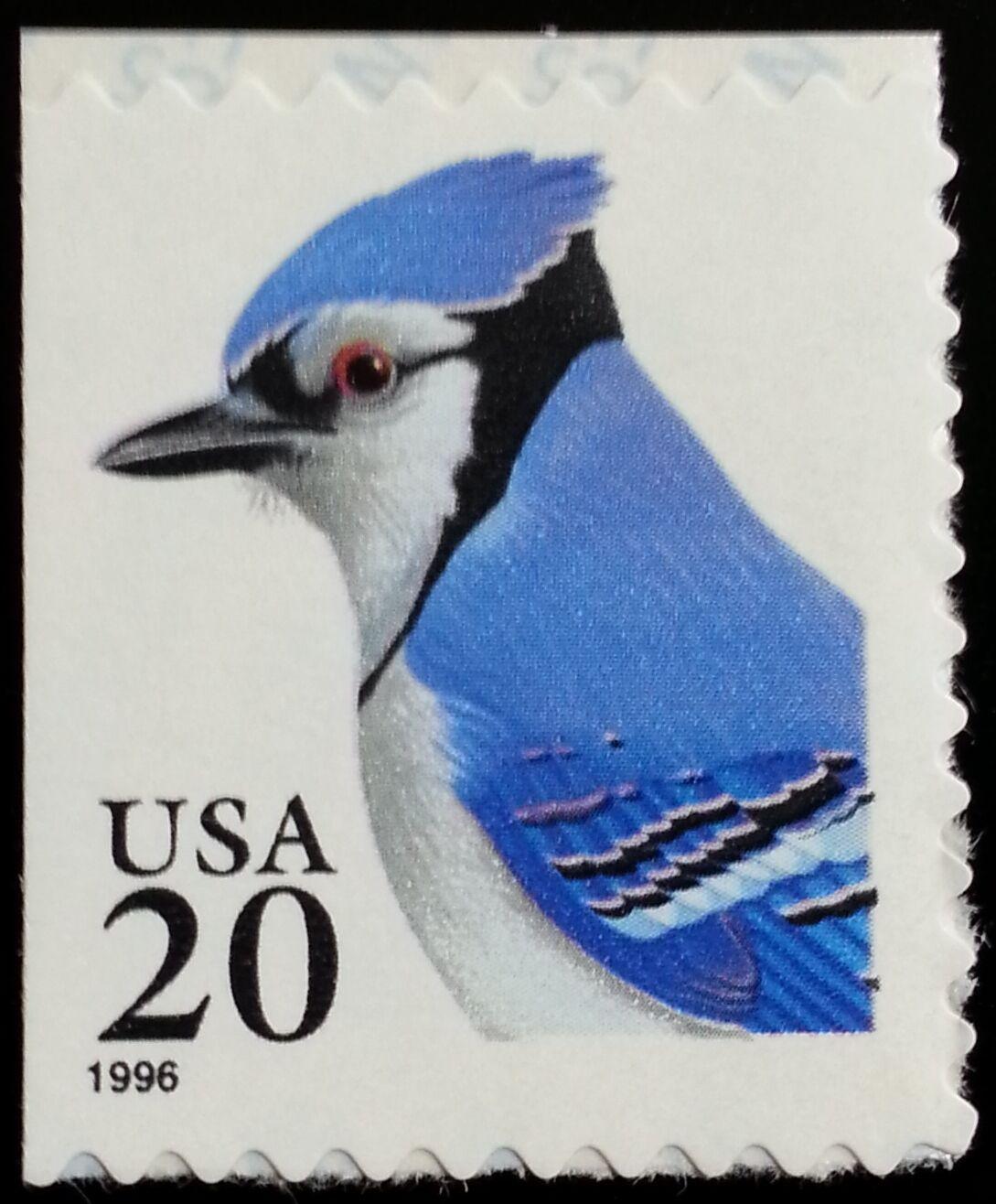 1996 20c Blue Jay, self-adhesive Scott 3048 Mint F/VF N