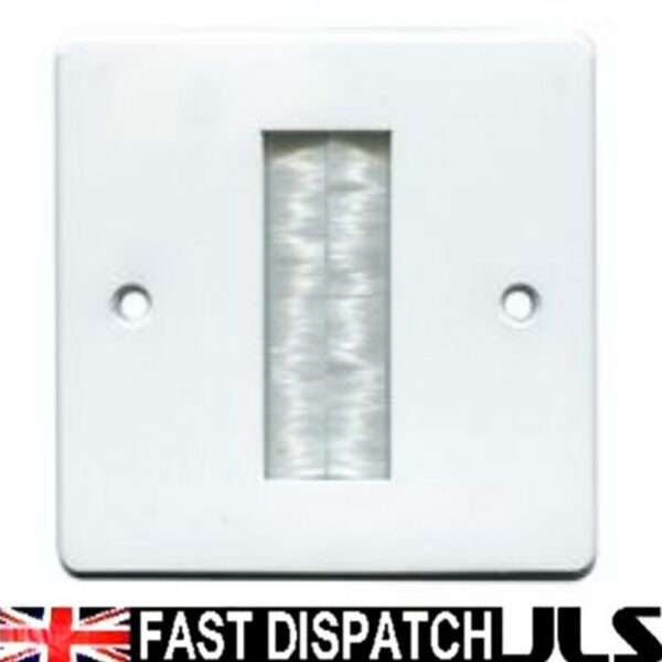 1 Gang White Brush Stripe Cable Entry Wall Face Plate Outlet Tv Single 1g