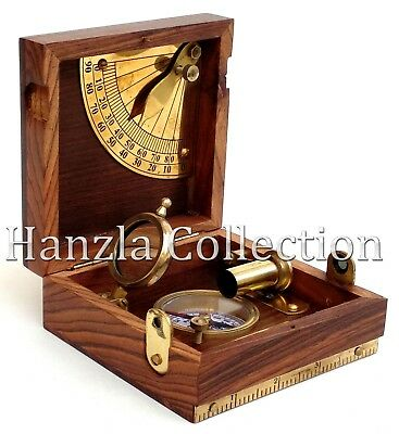 Nautical Maritime Brass Wooden Marine Box Compass Telescope /& Magnifying Glass