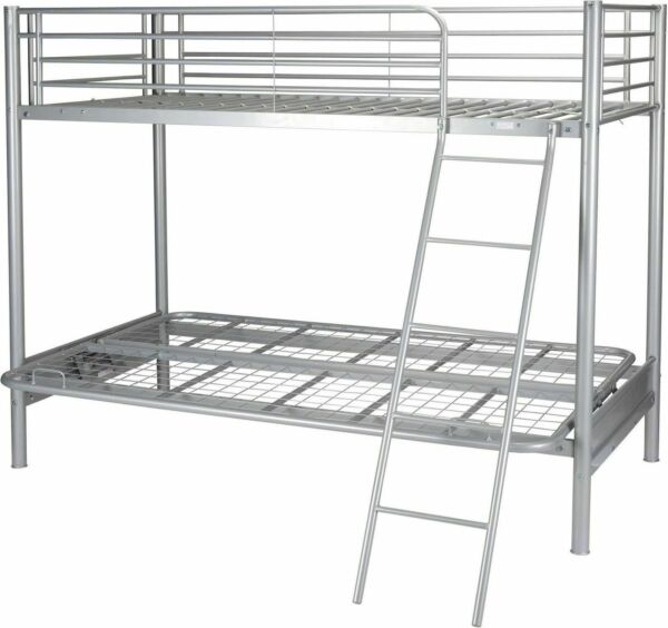 finest selection 0e983 50d47 Tesco Mika Single High Sleeper With Small Double Futon Bunk Metal Bed Frame  - Silver
