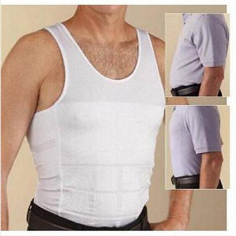 US Mens Slim Fit Shirt Body Shapers Vest Compression Tank Top Moobs Lift Corset 10
