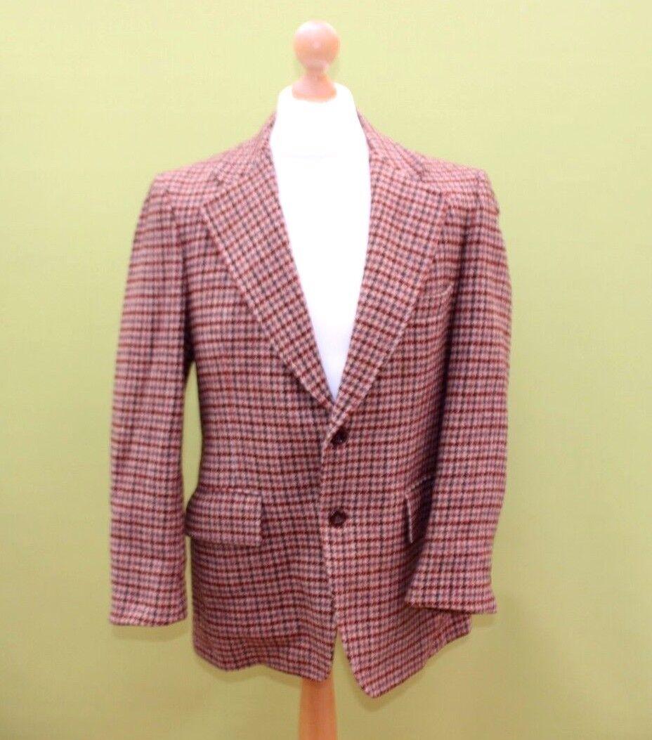 Harris Tweed Homme Veste 2 écossais Bouton Vierge écossais 2 laine mérite Houndstooth Vintage ab2a8d
