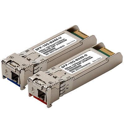 60km SFP WDM BiDi 10G 10gb SFPPlus 60 km transceiver Cisco compatible 2 modules