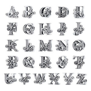 Unisex-Authentic-925-Sterling-Silver-26-Letter-Charm-Beads-Jewelry-Fit-925-Chain