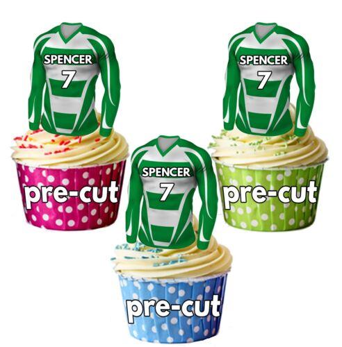 PRECUT Personalised Football Shirt Cake Toppers Green /& White Striped Shirt Kit