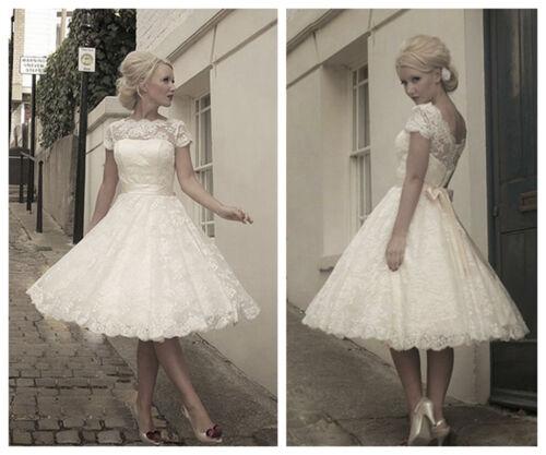 2018 Vintage Weiß Elfenbein Spitze Tee Länge Kurzes Hochzeitskleid Brautkleid