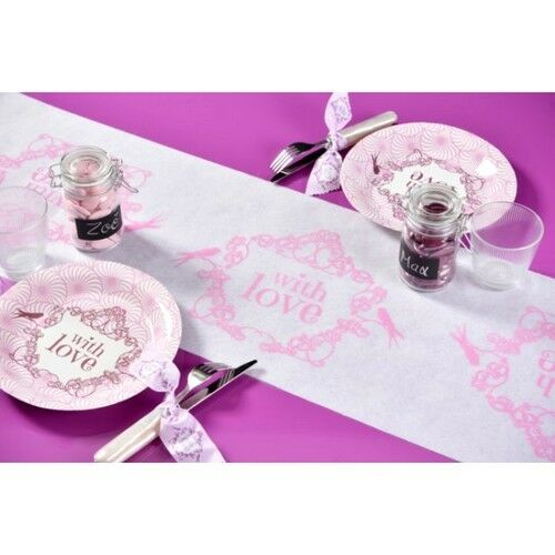 """Chemin de table Vintage /""""With Love/"""" rose"""