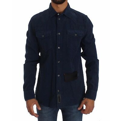 NEW $180 ACHT Casual Shirt Blue Cotton Long Sleeve Slim Fit Manchester Top s. L