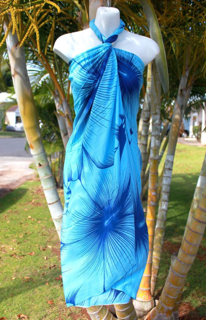 Sarong Blau Riesig Hibiskus Pereo Wrap Hawaiian Strand Reise Pool Luau Kleid