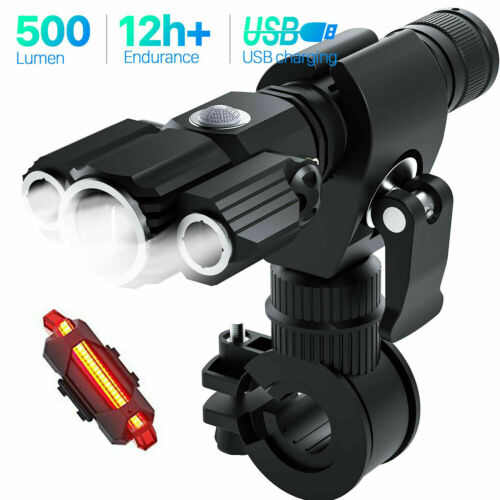 Rechargeable LED Zoomable Bike Head Light Tail Light Set Waterproof Bicycle Lamp