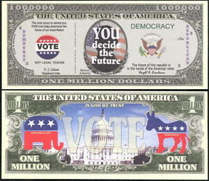 VOTE-IN-2016-ELECTION-MILLION-DOLLAR-BILL-Lot-of-10-BILLS