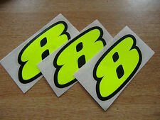 Juego De 3-Black & Fluorescente Amarillo número 8 Calcomanías / Stickers impacto 60mm