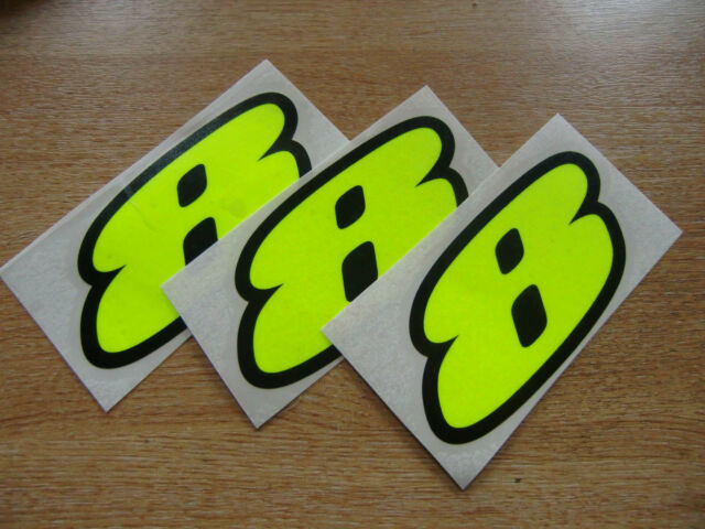 set of 3 - Black & Fluorescent Yellow number 8 decals / stickers IMPACT 60mm