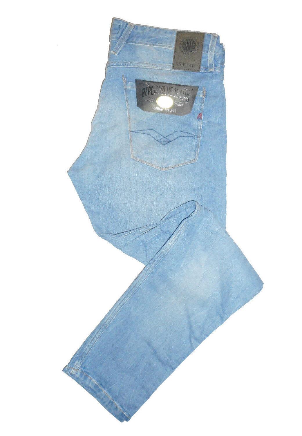 Replay ANBASS Slim Fit  W34 L32  RRP  Mens bluee Comfort Stretch Denim Jeans