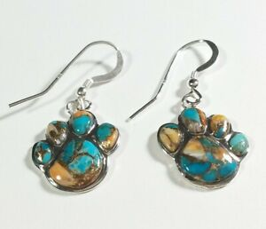 925-STERLING-PUPPY-PAW-DESIGN-TURQUOISE-amp-SPINY-OYSTER-1-3-8-034-HOOK-EARRINGS