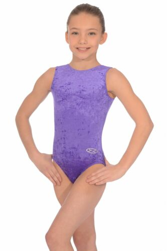 GYMNASTIC LEOTARD FOR GIRLS SLEEVELESS VELOUR CHOICE OF COLOUR AND SIZE