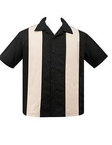 STEADY CLOTHING DOUBLE GREY /& BLACK PANEL BOWLING SHIRT LOUNGE ROCKABILLY RETRO