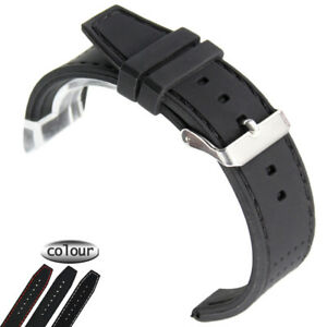 Watch-Band-Strap-Men-039-s-22mm-Waterproof-Diving-Silicone-Rubber-SS-Buckle-Bracelet