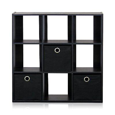 Furinno 13207EX-BK Simplistic 9-Cube Organizer w/Bins, Espresso-Black 13207EX/BK