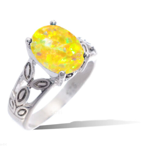 Yellow Opal Sterling Silver Ring.