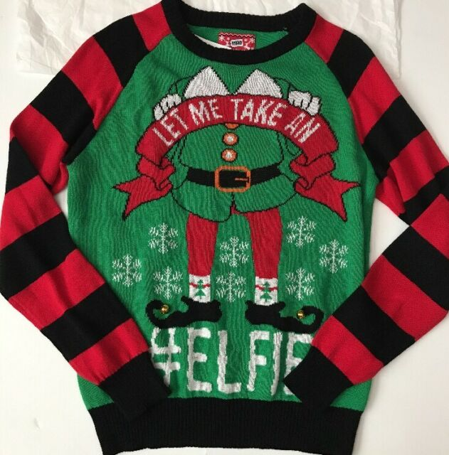 HyBrid HOLIDAY UGLY Christmas SWEATER Men\'s Let Me Take An #Elfie Small NWT