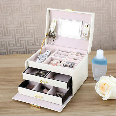 Jewelry Leather Mirror Box Storage Organizer Case Ring Earring Necklace Display
