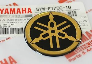 1 X Yamaha 45mm Tuning Fork Black Gold Decal Emblem Sticker Uk Stock Ebay
