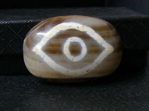 "(eH290) Tibet   Old DZI  GZI Agate Bead ""Budha Eye"""