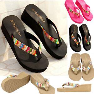 ffb6987a7e12 New Summer Fashion Womens Casual Wedge Flip Flops Beach Slippers ...