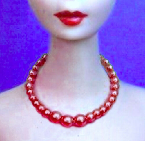 Barbie Dreamz RED Graduated Pearl Necklace /& Earrings Set Doll Jewelry