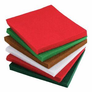 Tecido-De-Feltro-Pacote-De-Artesanato-De-Natal-Vermelho-Verde-Branco-Marrom-Quadrados-15cm-20-Folhas