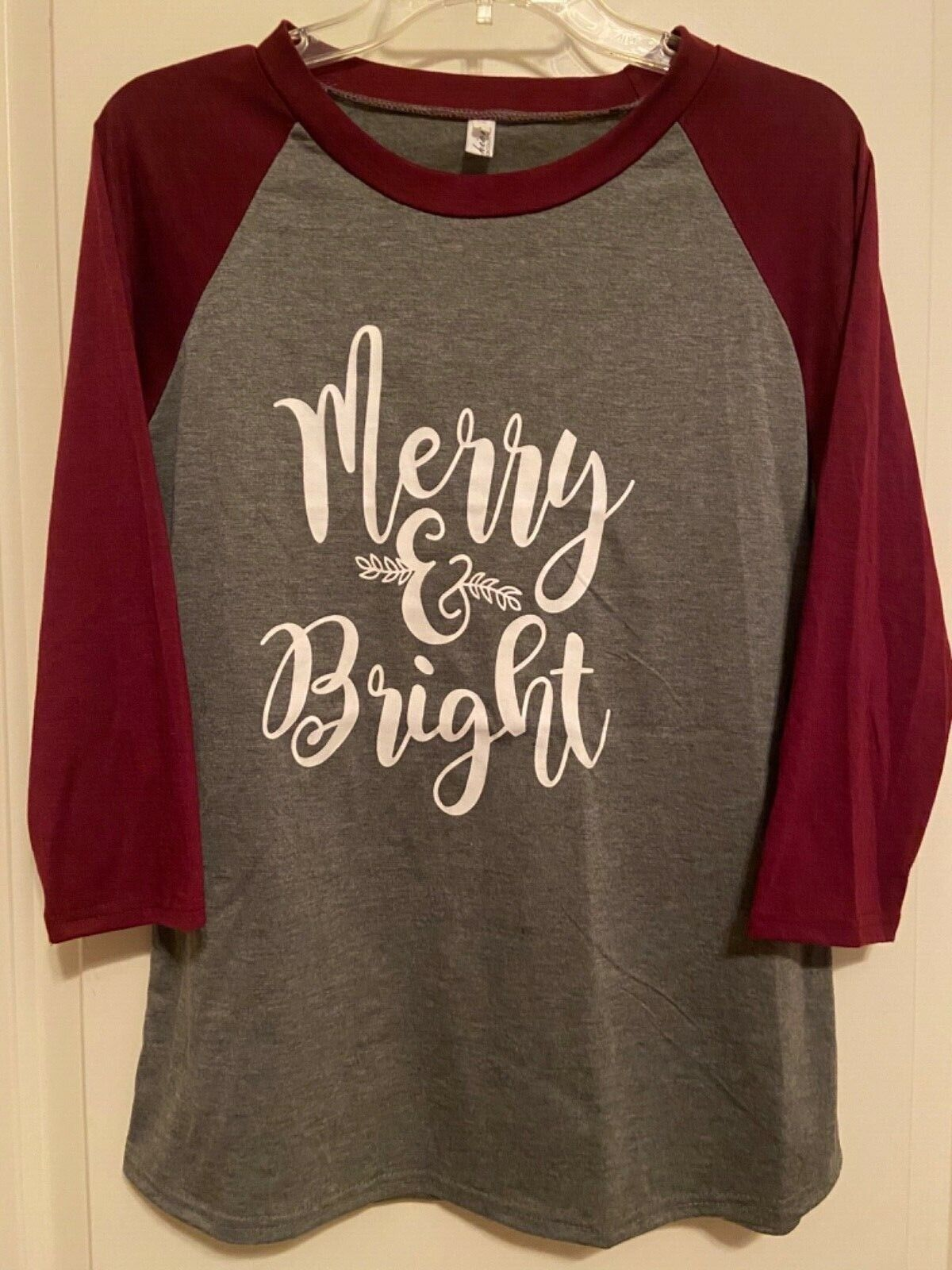 (Merry and Bright) Christmas 3/4 sleeve shirt