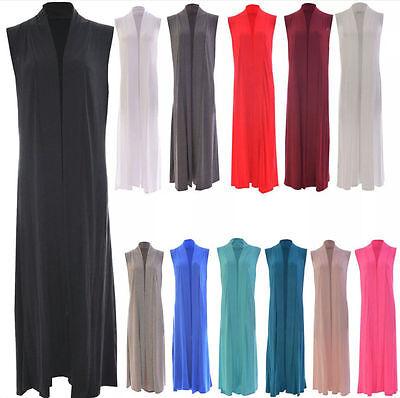 Da Donna Senza Maniche Lungo Maxi Cardigan Ladies Open Collar Plain Boyfriend Kimono