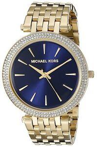 MICHAEL KORS DARCI WOMENS WATCH MK3406 DARK BLUE DIAL GOLD STRAP RRP ... b315167cf6