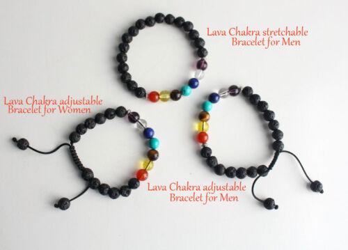 Adjustable Lava Wrist Mala Women/'s Lava Bracelet with Seven Chakra Stones