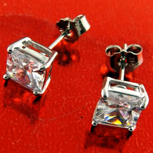 Diamond Simulated Stud Earrings Real 925 Sterling Silver S//F Princess Cut Ladies