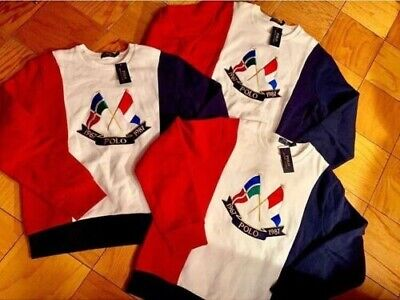 Nwt Polo Ralph Lauren Red White And Blue Cross Flag Sweatshirt Xl