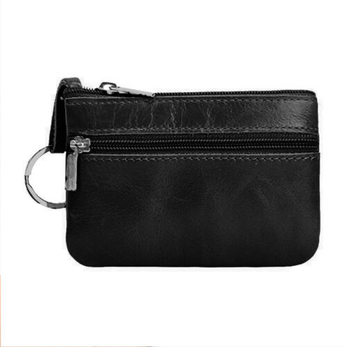 Man/'s Zipper Genuine Leather Wallet Slim Credit Card Holder Change Coin Pockets