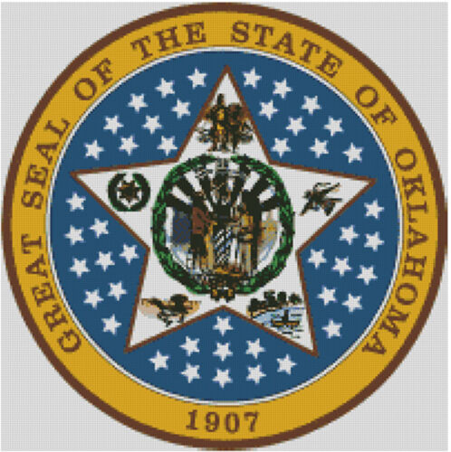 pattern Badge State Emblem USA Cross stitch chart Seal Oklahoma Flag