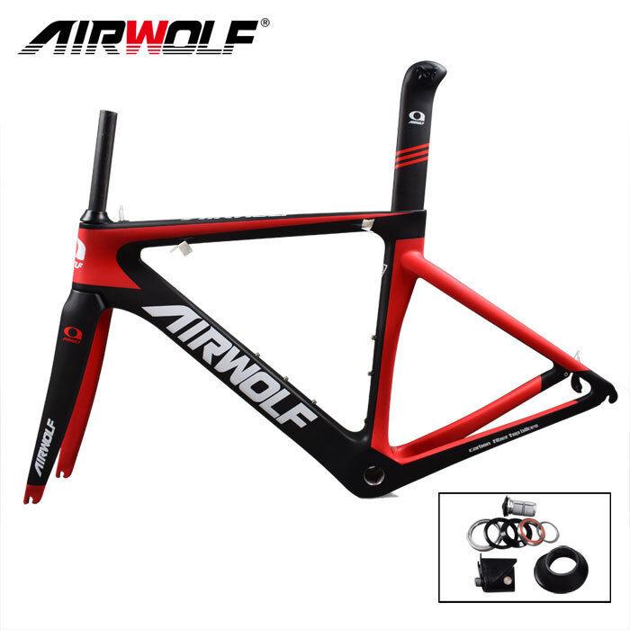 AIRWOLF CARBON bike frame 3K Weave ROAD BICYCLE FRAME BSA Di2 e meccanica