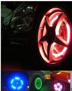 4-Bouchons-De-Valve-LED-Lumineux-Rouge-Voiture-Moto-Scooter-Velo-Metal-Nouveau