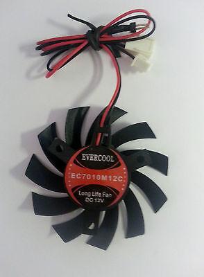 EverCool 70mm  Ball Bearing Fan, 3500rpm, 21.33cfm, EC7010M12C