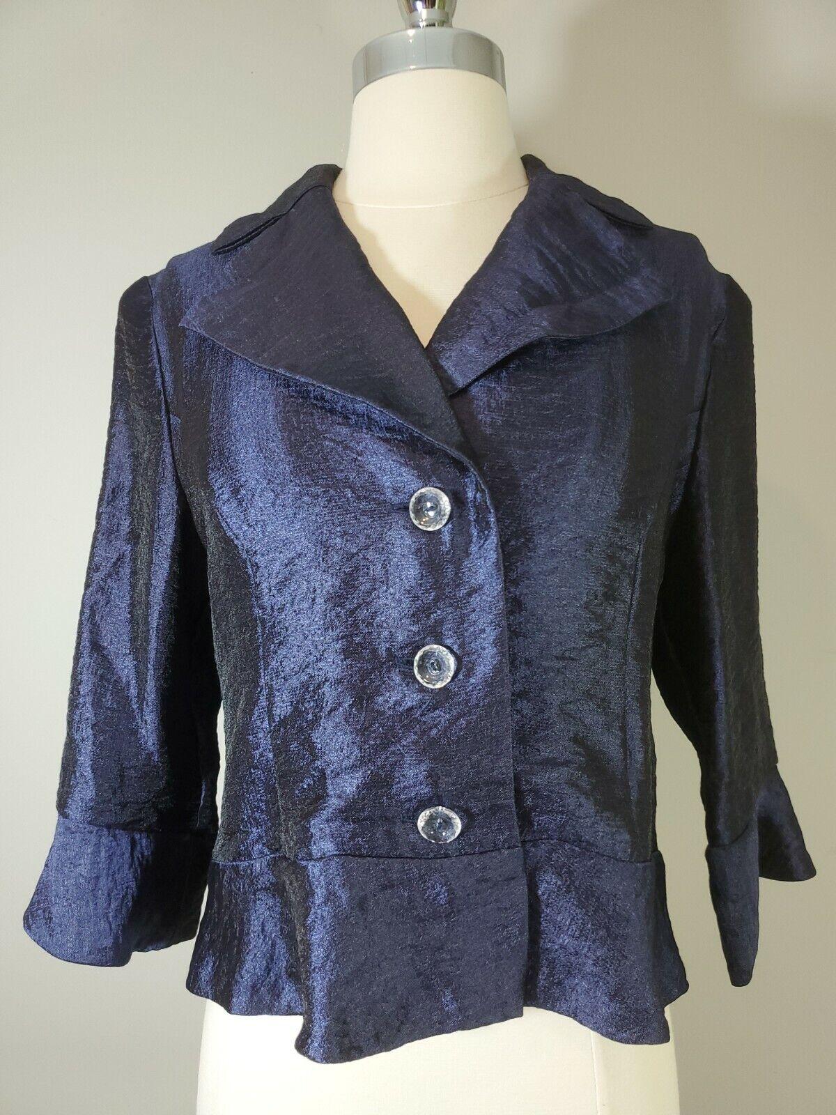 Ursula Of Switzerland Womans Blazer Top Navy Blue peplum 3/4 sleeve formal