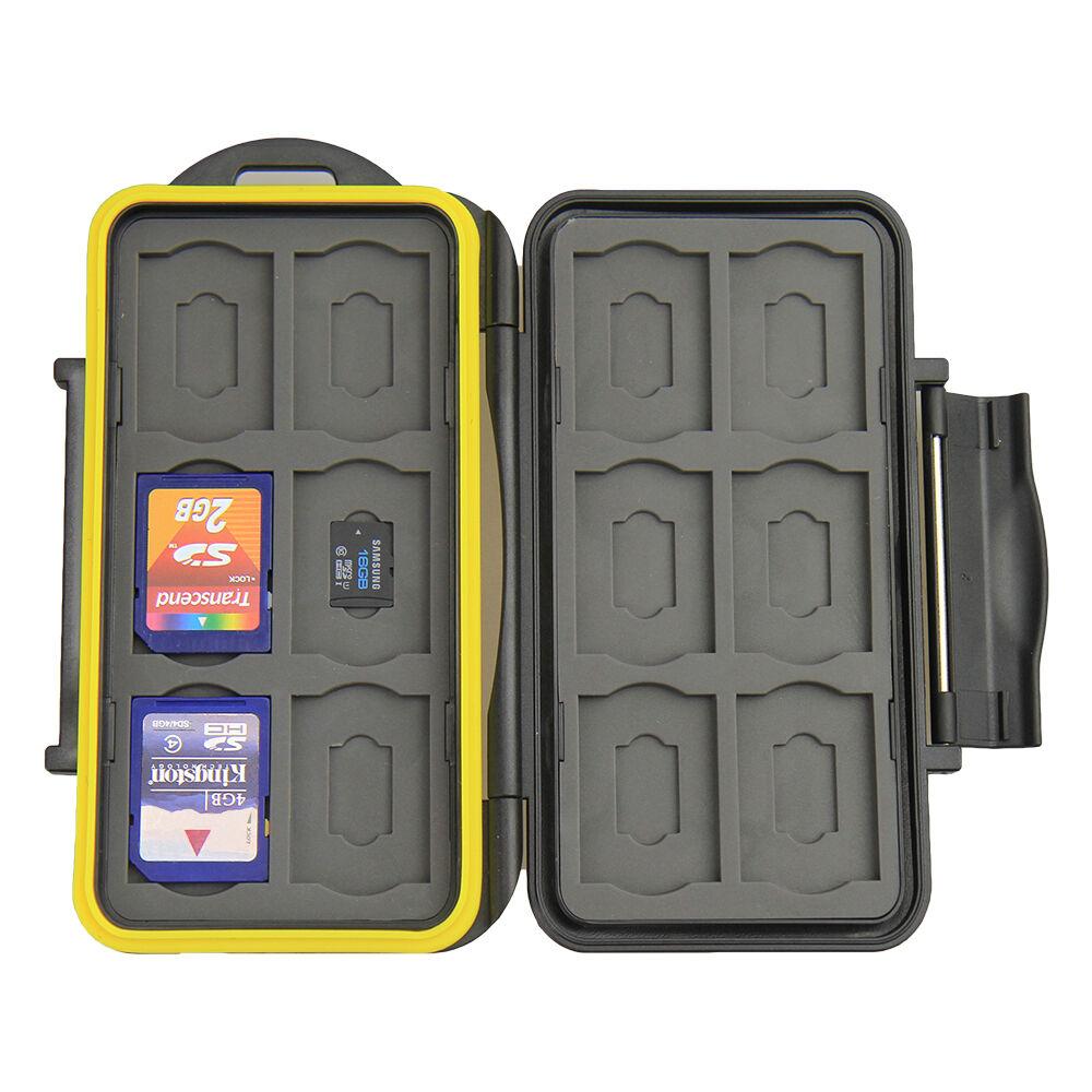 JJC MC-SDMSD24 Waterproof Memory Card Case for 12 SD + 12 Mirco SD Secure lock